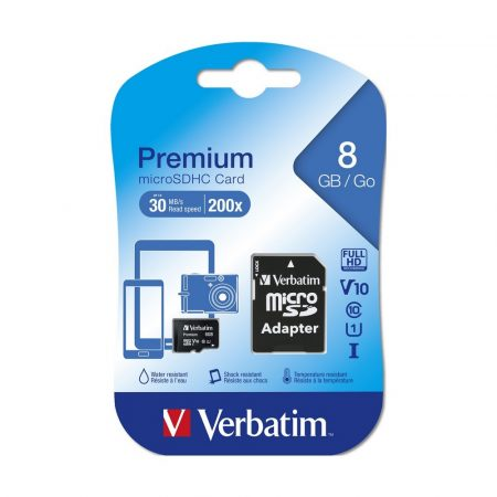 Verbatim MicroSDHC 8GB memóriakártya Class10+UHS-1, SD adapterrel