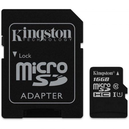 Kingston Micro SDHC 16GB memóriakártya Class10