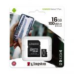Kingston Canvas Select Plus 16GB MicroSD memóriakártya+adapter