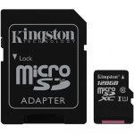 Kingston MicroSDXC 128GB memóriakártya Class10+UHS-1, SD adapterrel