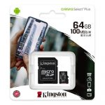 Kingston MicroSDXC 64GB memóriakártya Class10+UHS-1, SD adapterrel