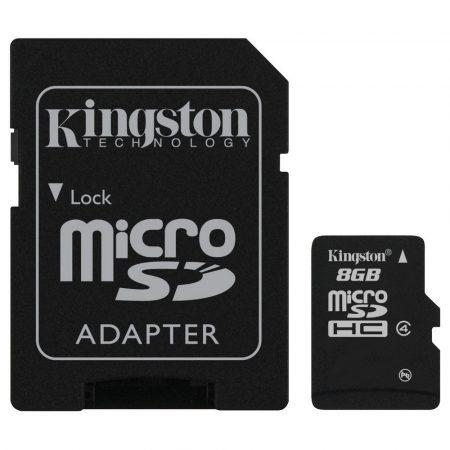 Kingston MicroSDHC 8GB memóriakártya Class4, SD adapterrel