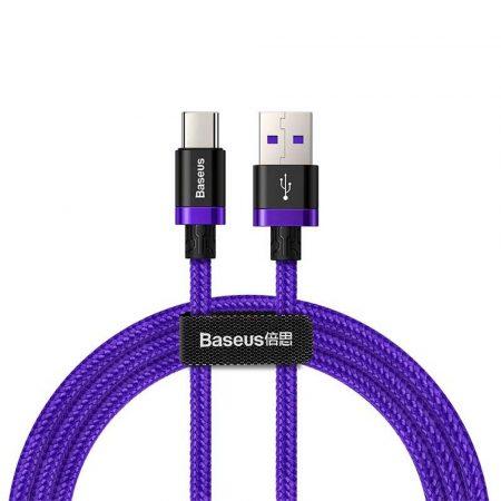Baseus Type-C USB töltő- és adatkábel max. 5A, 1.0m, lila