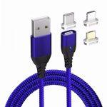 WPOWER mágneses USB kábel, 3A PD-QC gyors-töltés, kék