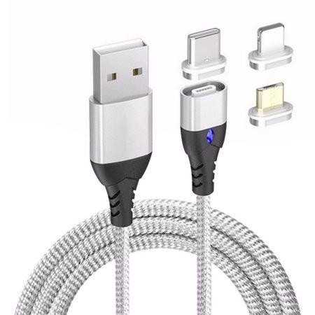WPOWER mágneses USB kábel, 3A PD-QC gyors-töltés, ezüst