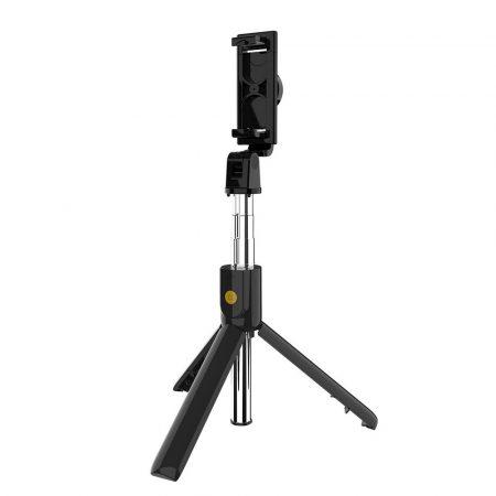 K10 selfie stick és tripod bluetooth távirányítóval, fekete