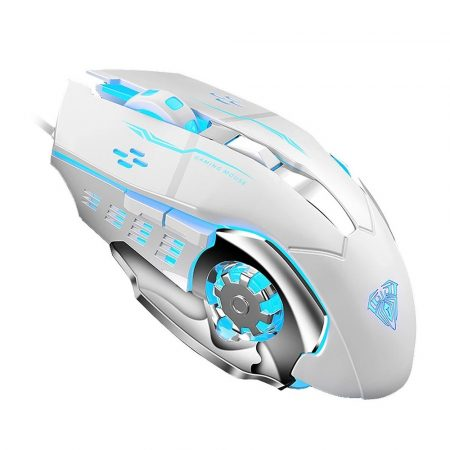 Aula S20 Gamer egér 2400dpi, LED világítással, fehér-ezüst, USB