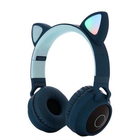 Macskafüles, LED-es Bluetooth 5.0 fejhallgató, sötétkék