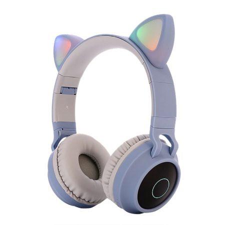 Macskafüles, LED-es Bluetooth 5.0 fejhallgató, világoskék