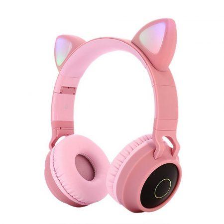 Macskafüles, LED-es Bluetooth 5.0 fejhallgató, pink