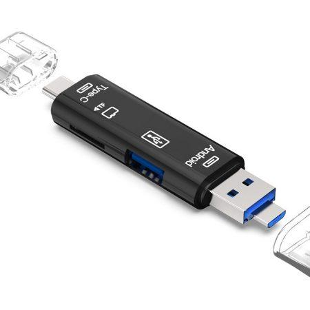 3 az 1-ben OTG Micro SD kártyaolvasó, fekete