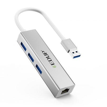 EDUP EP-9606 USB3.0 Gigabit LAN adapter + 3xUSB HUB, ezüst