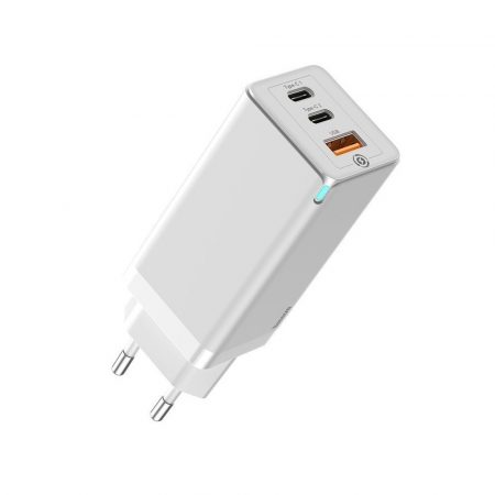 Baseus GaN Mini Quick Travel Charger USB töltő 65W, fehér