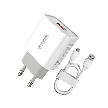 Wekome WP-U57 USB töltő + Type-C USB kábel 18W, fehér