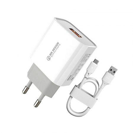 Wekome WP-U57 USB töltő + Micro USB kábel 18W, fehér