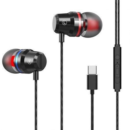 E-03 Type-C headset és fülhallgató, fekete