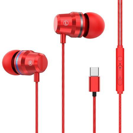 E-03 Type-C headset és fülhallgató, piros
