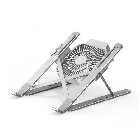 Hordozható, alumínium laptop állvány+ventilátor