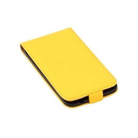 Samsung Galaxy S5 valódi bőr telefontok, sárga (3468)